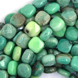 10mm faceted green chrysoprase flat square beads 15.5