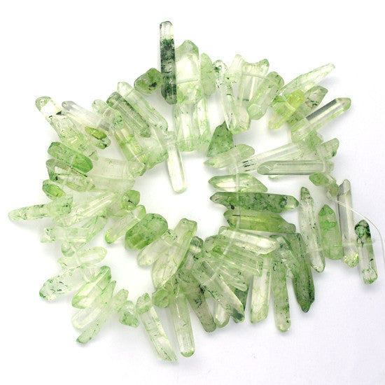 "20-30mm rock crystal stick beads 15.5"" strand green S2"