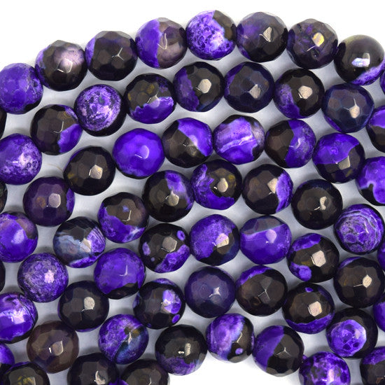 "6mm faceted druzy agate round 14"" strand black purple"