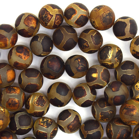 "10mm Tibetan DZI lattice pattern agate round beads 14.5"" strand S2"