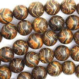 10mm Tibetan DZI lattice pattern agate round beads 15