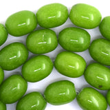 13x18mm olive green jade barrel nugget beads 15.5