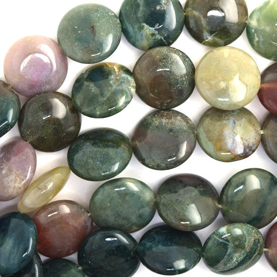 "16mm indian agate coin beads 15"" strand"