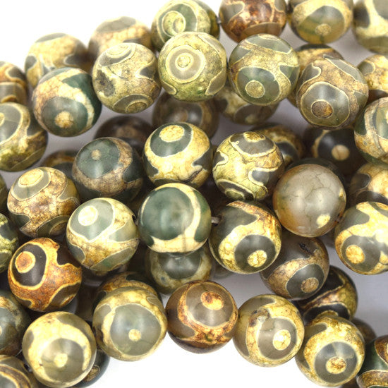 "10mm Tibetan DZI green lattice pattern agate round beads 15"" strand S1"