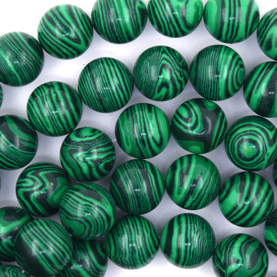 "16mm synthetic green malachite round beads 15.5"" strand"