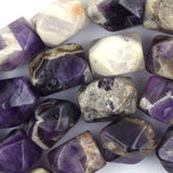 13x20mm faceted natural amethyst nugget beads 15.5