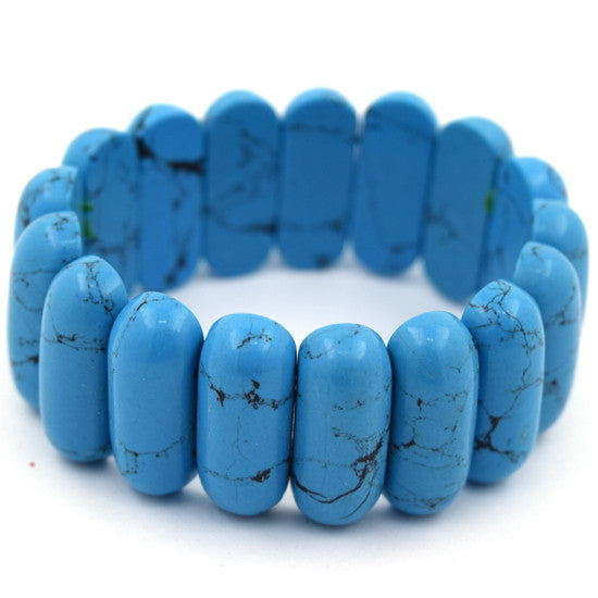 "10x24mm blue turquoise stretch bracelet 7"" S1"