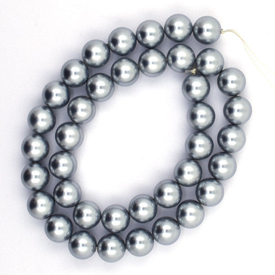 "10mm silver shell pearl round beads 16"" strand"