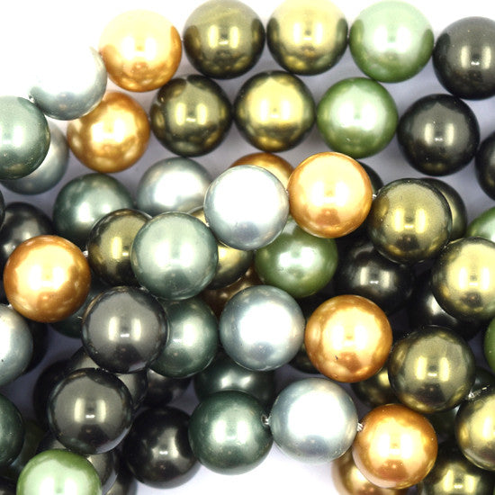 "10mm multicolor shell pearl round beads 16"" strand"