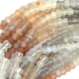 4mm faceted multicolor moonstone rondelle beads 13.5