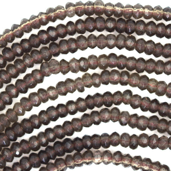"4mm faceted smoky quartz rondelle beads 15.5"" strand"