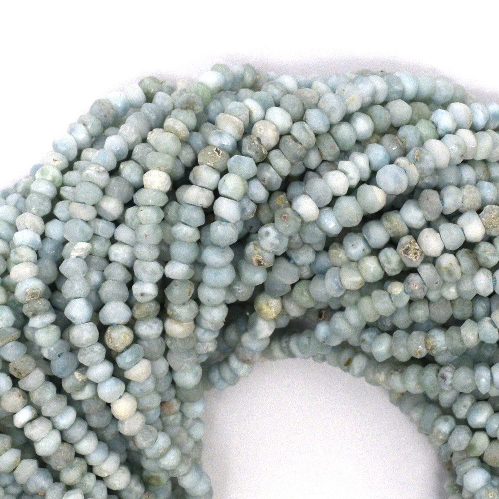 "3mm faceted natural blue larimar rondelle beads 13"" strand"