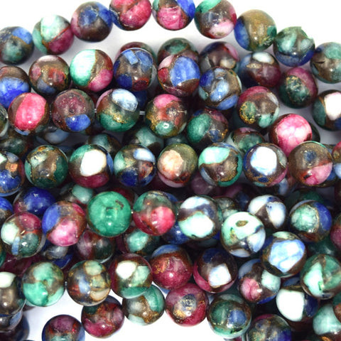 "6mm emerald green jade round beads 15.5"" strand"