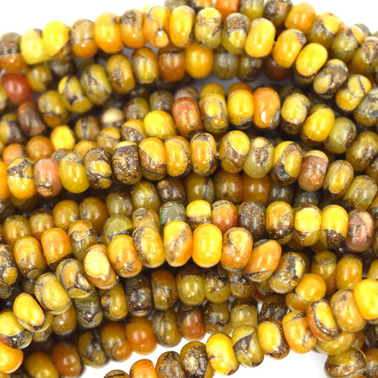 "6mm brown yellow pressed jade rondelle 15.5"" strand"