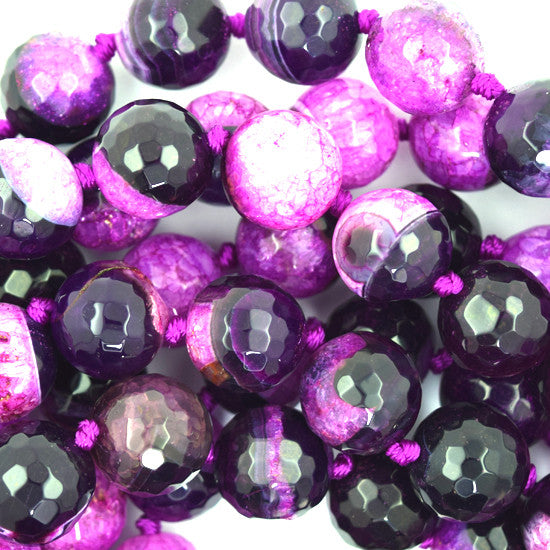 "14mm faceted druzy agate round 6"" strand magenta black S2"