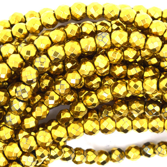 "4mm faceted gold plated hematite round beads 7.5"" strand"