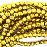 4mm faceted gold plated hematite round beads 7.5