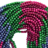4mm faceted multicolor jade round beads 15.5