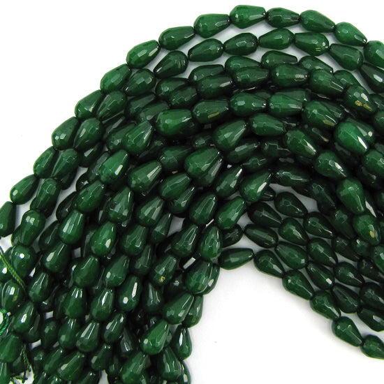 "12mm faceted emerald green jade teardrop beads 15"" strand"