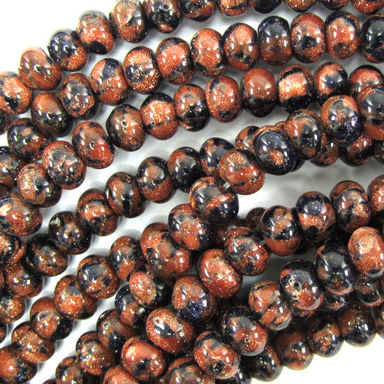"6mm snowflake blue goldstone rondelle beads 15.5"" strand"