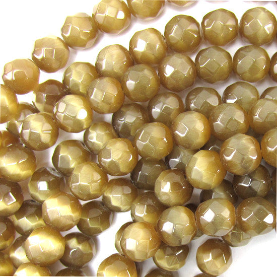 "8mm faceted fiber optic cats eye round beads 14.5"" strand brown"