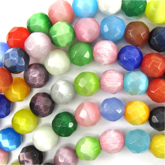 "8mm faceted fiber optic cats eye round beads 14.5"" strand multicolor"