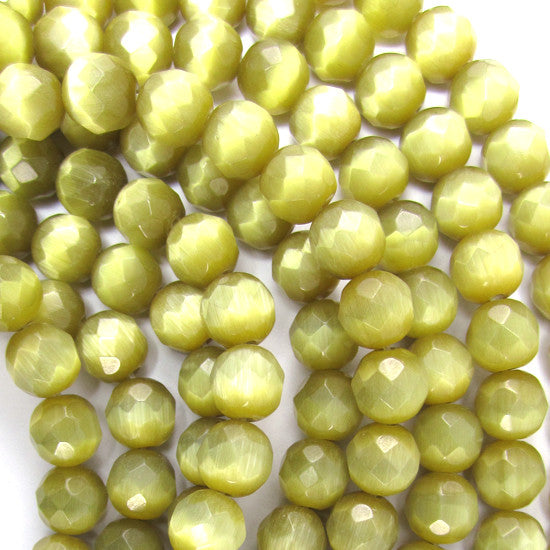 "8mm faceted fiber optic cats eye round beads 14.5"" strand light brown"