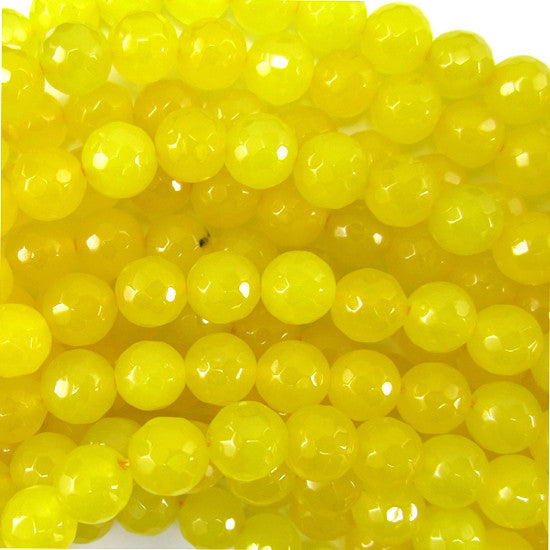 "8mm faceted yellow jade round beads 15"" strand"