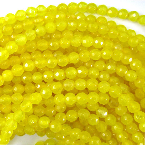 "4mm faceted yellow jade round beads 15"" strand"
