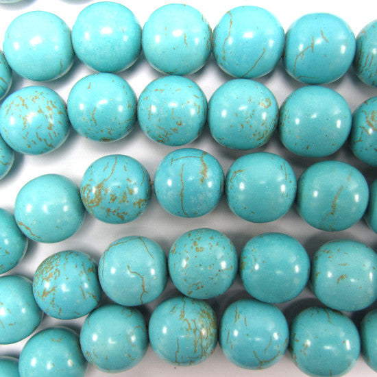 "14mm blue turquoise round beads 16"" strand"