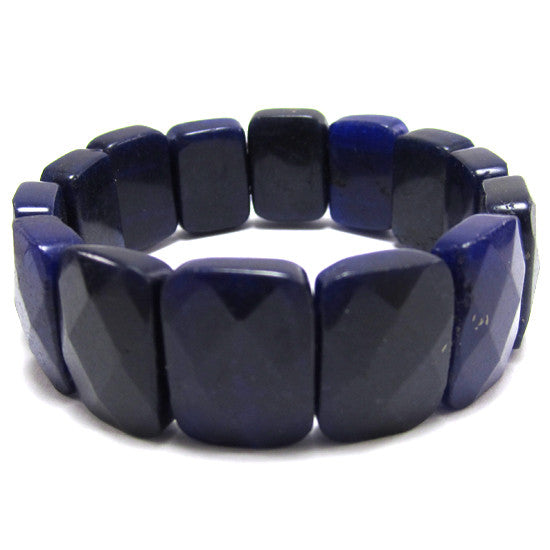 15x20mm faceted dark purple jade stretch bracelet 8""
