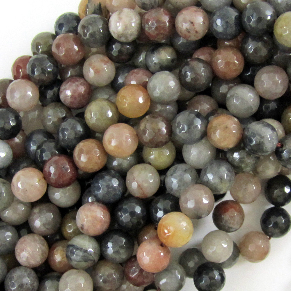 "10mm faceted grey brown agate round beads 15"" strand"