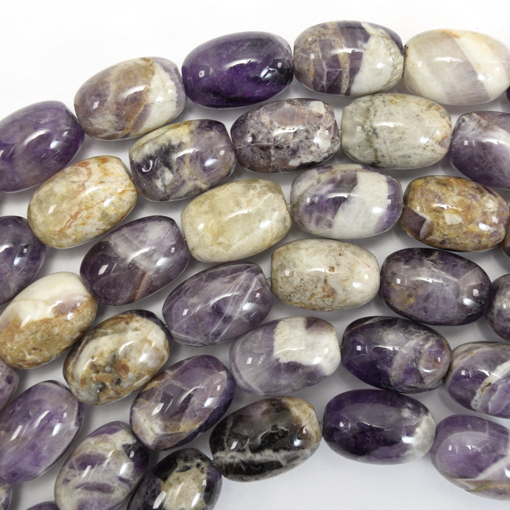 "17mm natural amethyst barrel beads 16"" strand S1"