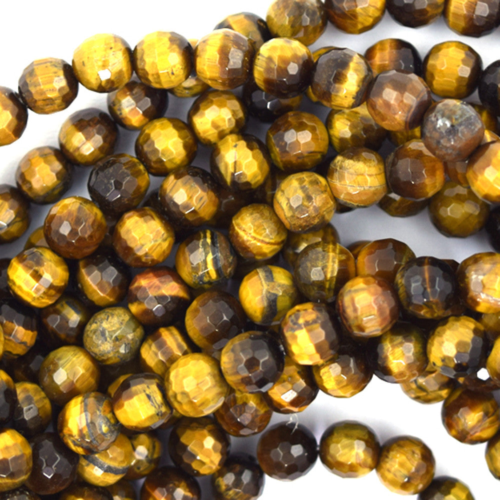 "6mm faceted tiger eye round beads 15"" strand"