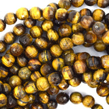 6mm faceted tiger eye round beads 15