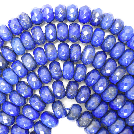 "10mm faceted blue lapis lazuli rondelle beads 15.5"" strand"