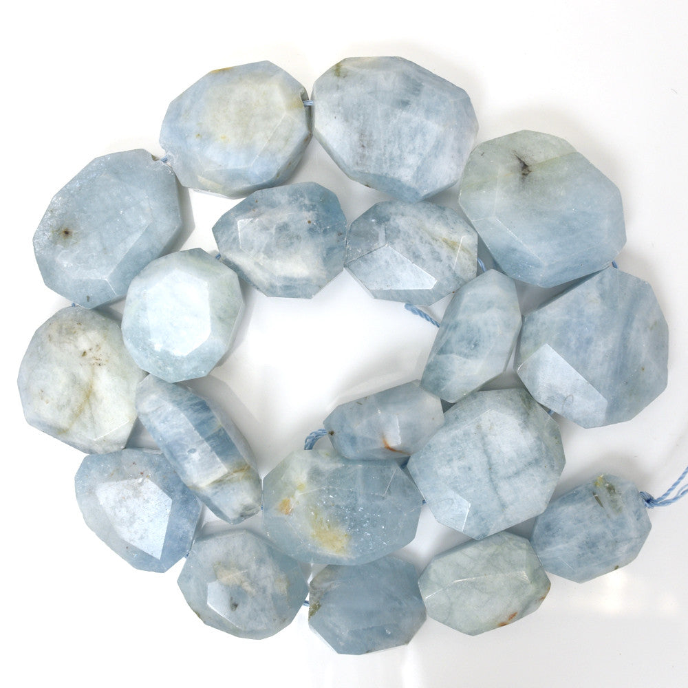 "8-24mm blue aquamarine freeform nugget beads 17"" strand"