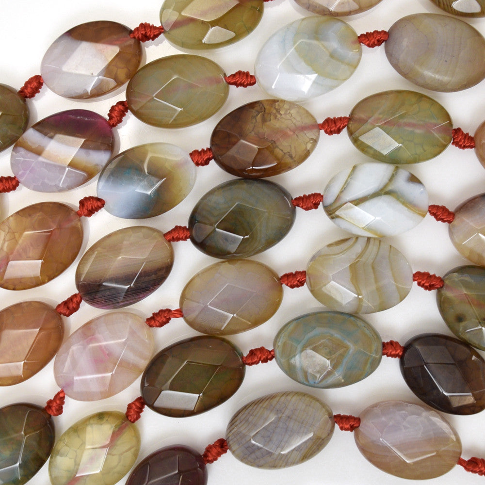 "14mm faceted multicolor agate flat oval beads 15.5"" strand"