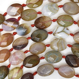 14mm faceted multicolor agate flat oval beads 15.5