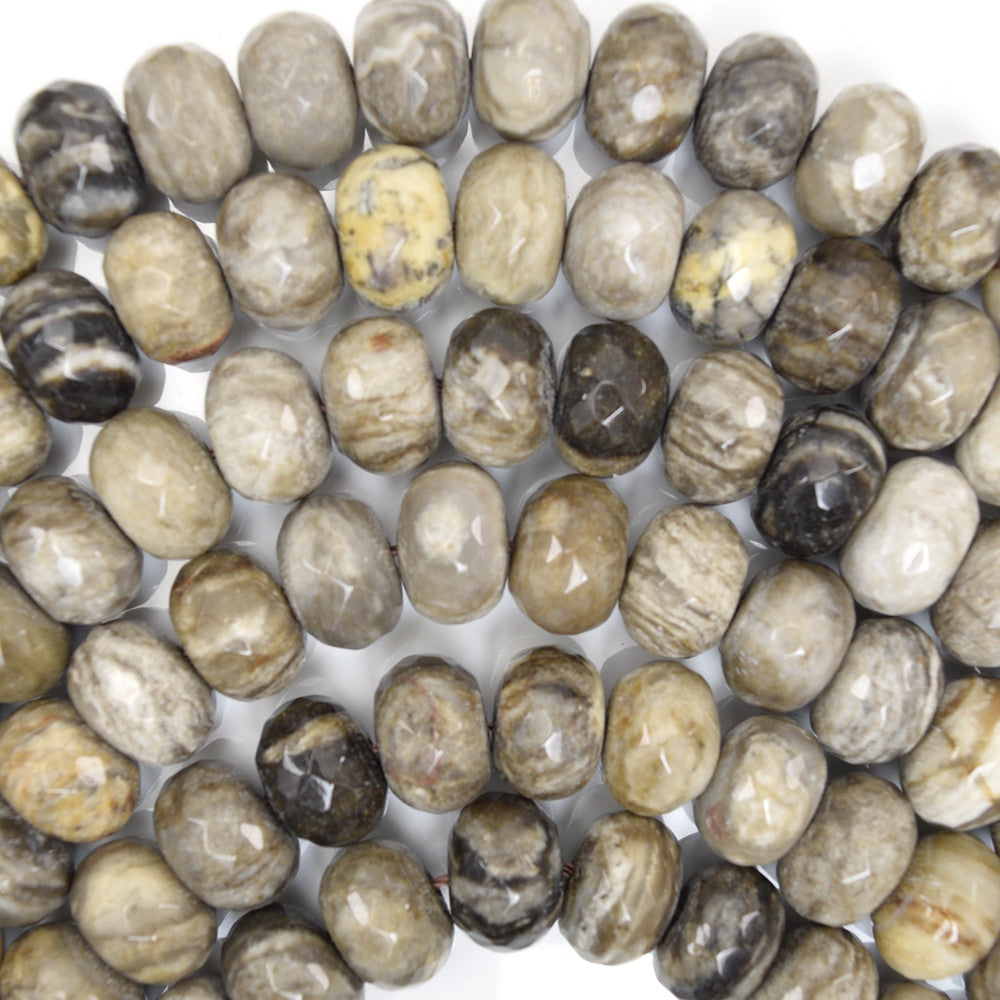 "12mm faceted petrified wood agate rondelle beads 15"" strand"