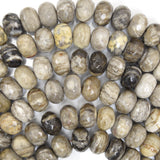 12mm faceted petrified wood agate rondelle beads 15