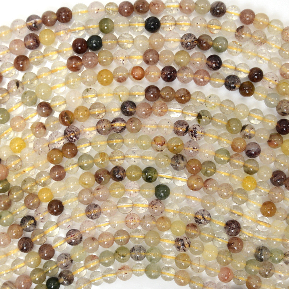 "4mm multicolor rutilated quartz round beads 15.5"" strand"