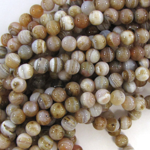 "12mm faceted cream crazy lace agate round beads 15"" strand"