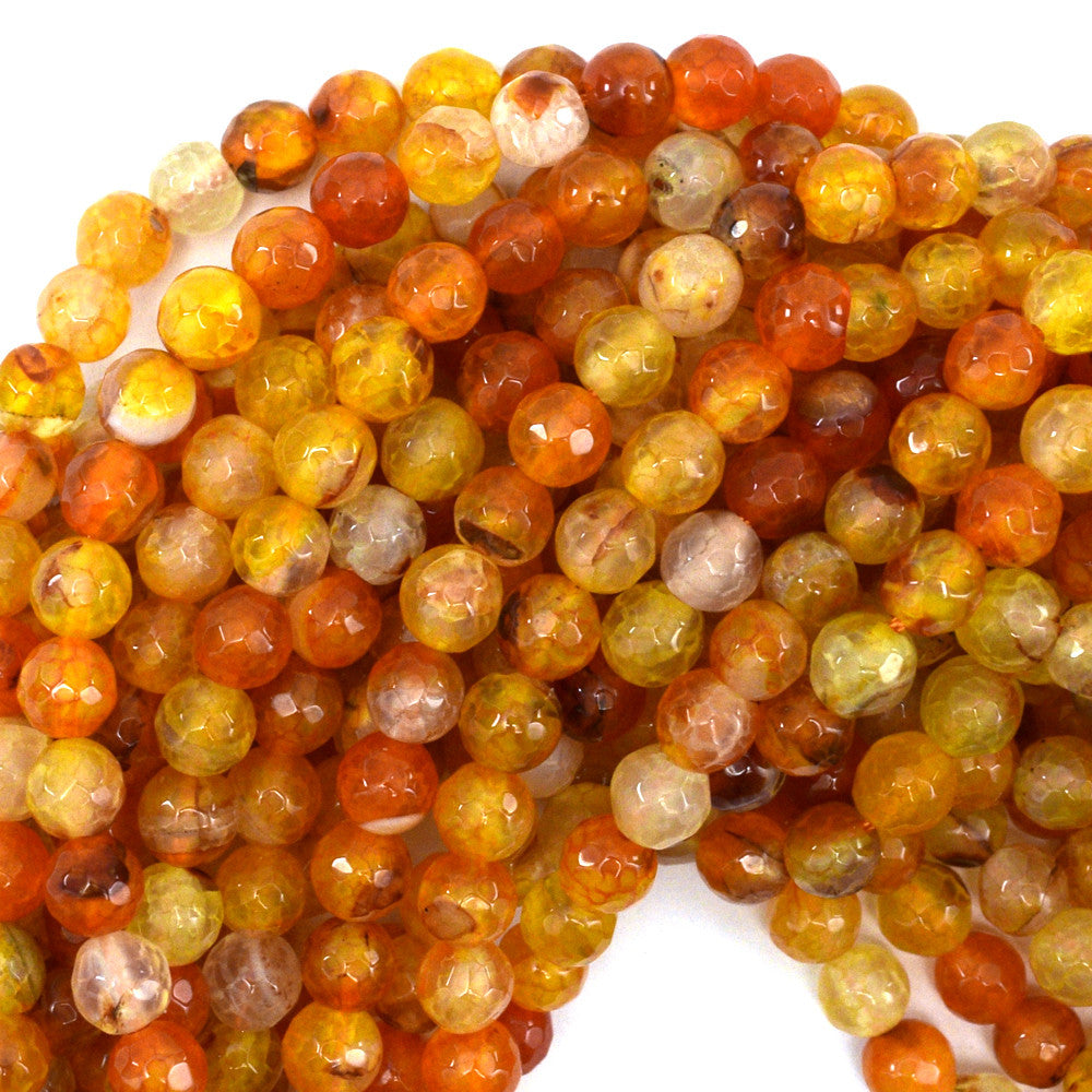 "6mm faceted agate round beads 14.5"" strand orange"