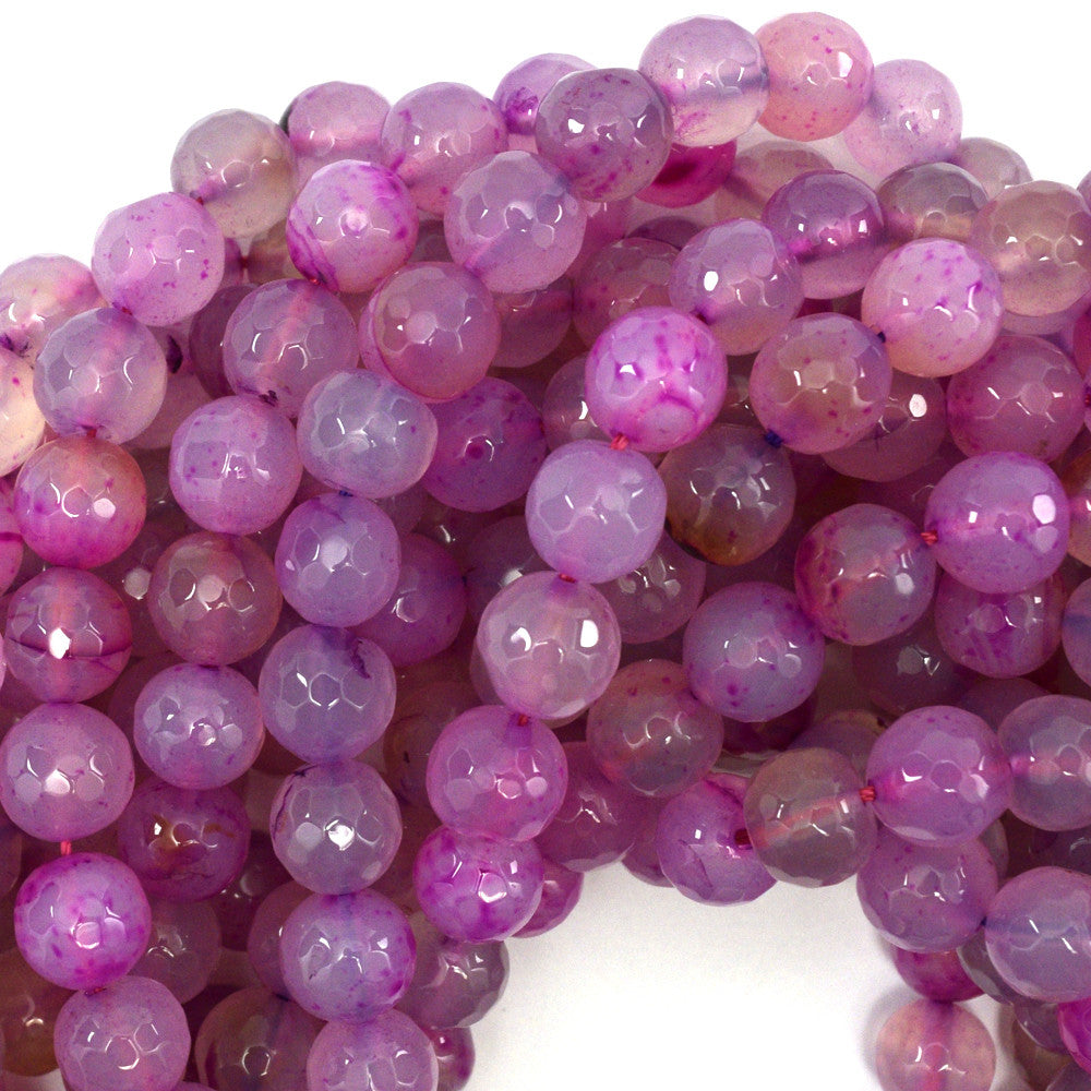 "10mm faceted agate round beads 15"" strand magenta"