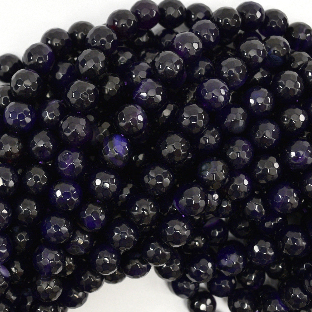 "10mm faceted agate round beads 15"" strand dark purple"