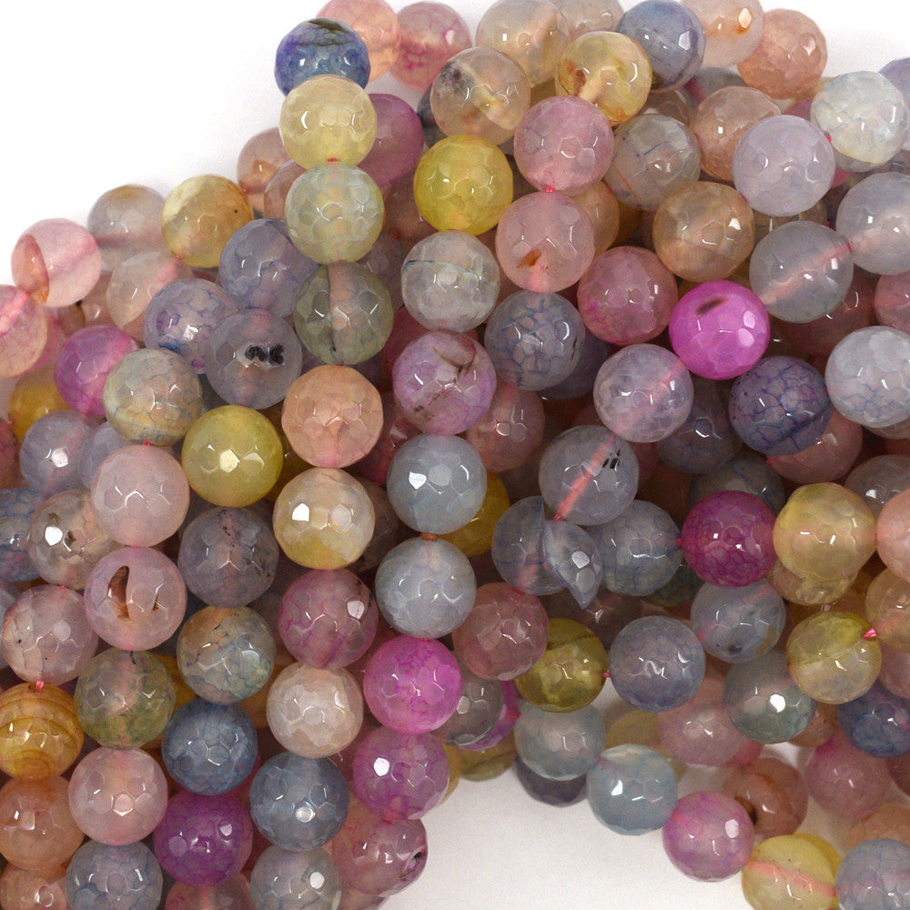 "10mm faceted agate round beads 15"" strand multicolor"