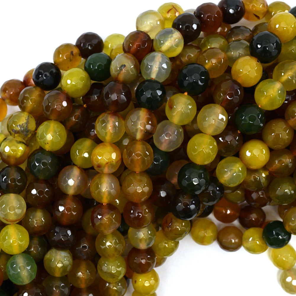 "10mm faceted agate round beads 15"" strand multicolor S2"