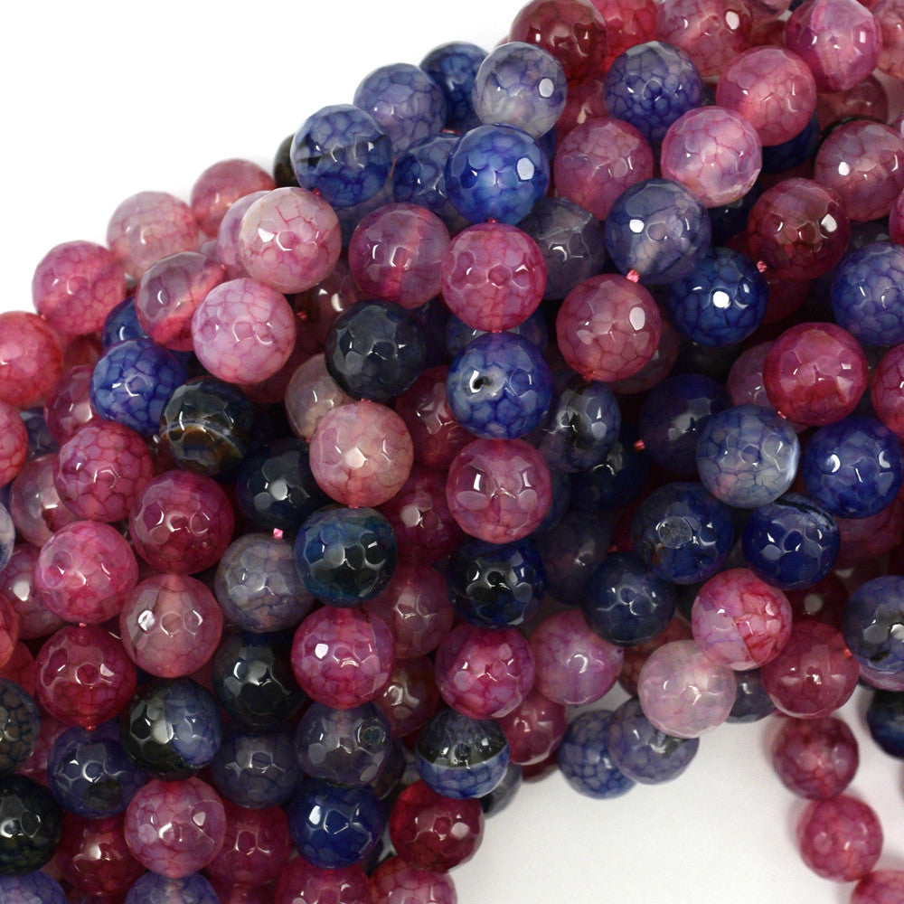 "10mm faceted agate round beads 15"" strand multicolor S4"