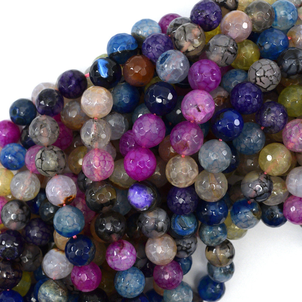 "10mm faceted agate round beads 15"" strand multicolor S5"